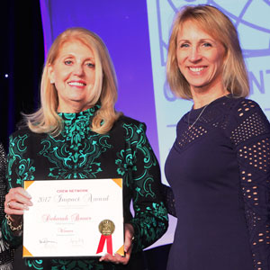 2017 CREW Network Impact Award receipent Deborah Bauer with 2017 CREW Network Recognition Committee Chair Barbi Reuter