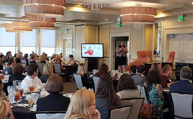 CREW Network CEO Wendy Mann speaks at April 2018 CREW Orlando event