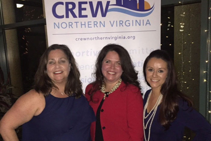 Celebrating CREW Northern Virginia Award Recipients with chapter president Megan Pawloski and president-elect Erica Baslow