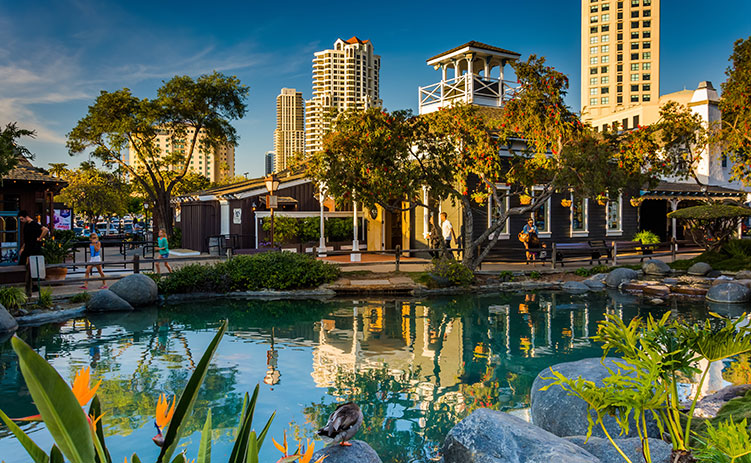 Pond and buildings at Seaport Village, in San Diego, California